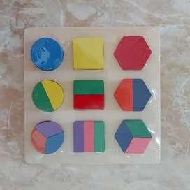 Mainan edukasi puzzle chunky wooden toys montessori geometri