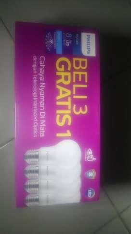 Lampu Led Philips 8 Watt paket isi 4