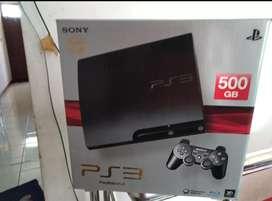 PS 3 Slim Hdd 500 GB Lkp 50 Game fullset 2 Stik mulus