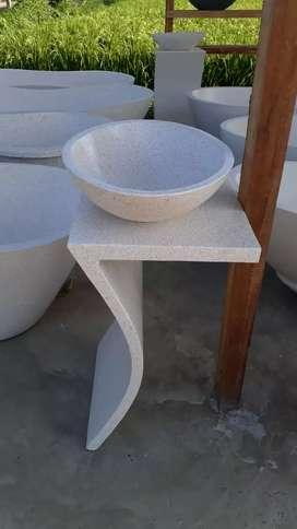 Ready bathtub meja dan wastafel terazzo
