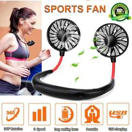 Lazy Neck Hanging Dual Mini Rechargeable Cooling Fan