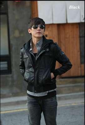 Jaket Kulit Pria Hooded Brown Style - SK64