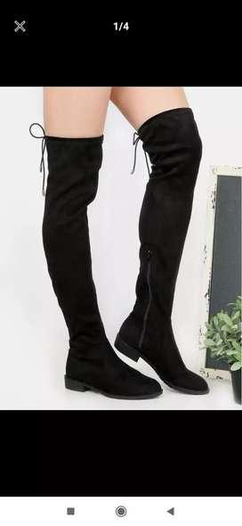 Flat heel thigh high boots BLACK