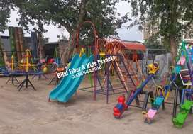 Kids play area swing, slide, seesaw, monkey bar, mery go round & more.