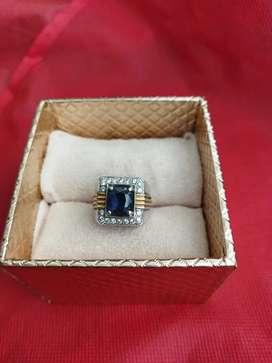 Cincin Eropa Pria Berlian Blue Sapphire Kode 018