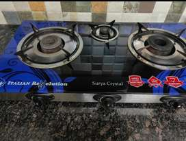 3 Burner automatic glass top Stove(Without Lighter)