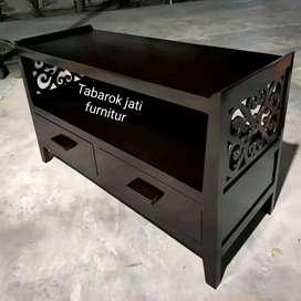 Meja tv minimalis ulir slim laci 2, P.100cm, bahan kayu jati asli 100%
