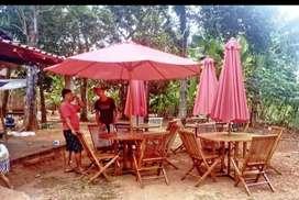 Meja taman jati,meja payung taman,meja cafe,meja parasol,kursi lipat
