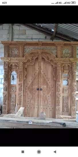 Pintu kusen gebyok kayu jati drika
