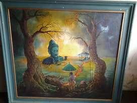 Lukisan sriwijaya gajah mada...asli lukisan kanfas tanggan
