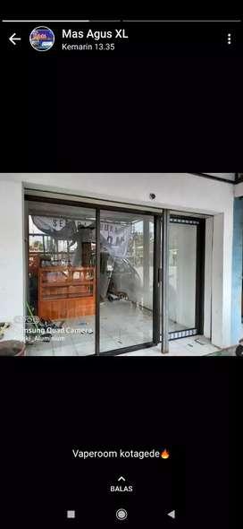 Pintu jendela kaca almunium