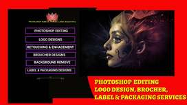 LOGO DESIGNING, GRAPHIC DESIGNS, PHOTOSHOP EDITING