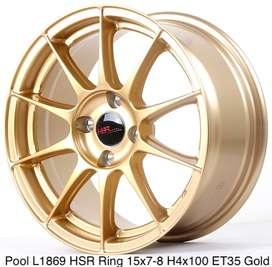 gudang velg POOL L1869 HSR R15X7/8 H4x100 ET35 GOLD