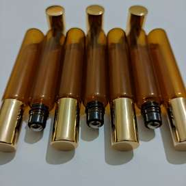 10 piece 10ml Clear/Amber glass bottle with golden lid & metal roller