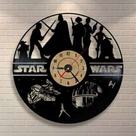 Jam Dinding Quartz Creative Design Model Hollow Star Wars