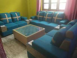7 seater blue marble sofaa with centre table