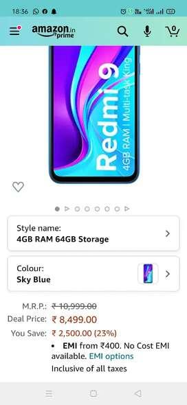 Redmi 9 4/64 sky blue colour