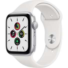 Apple Watch SE 2020, (GPS, 44mm, Silver Aluminum, White Sport Band).