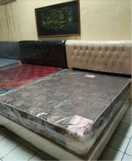 1set spring bed javaland dan dipan oscar putih tulang ukuran 160x200