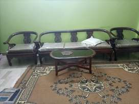 5 seater wooden sofa with table
