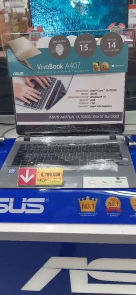 Laptop Asus intel core i3-7020u bisa cicilan 0%  tapa kartu kredit