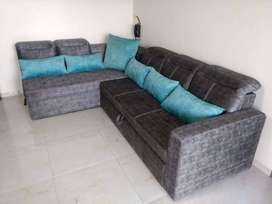 Suede Lether 'L' shaped sofa cum bed  with storage box