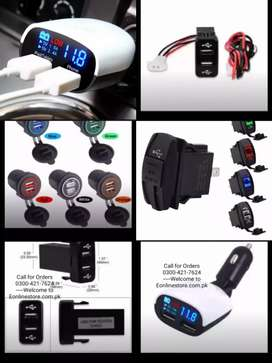 Universal 3.4A Dual USB Car Charger Round Rectangular shape beep sound