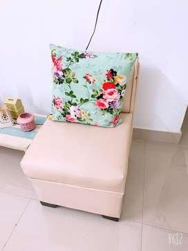 Beige colour 2 seater sofa with 2 ottman