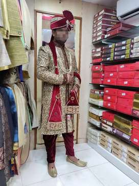 Rent/sale Branded Golden sherwani, full embroidery work with payjama