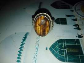 Tiger stone with chandi ring