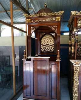 mimbar masjid kayu jati jati