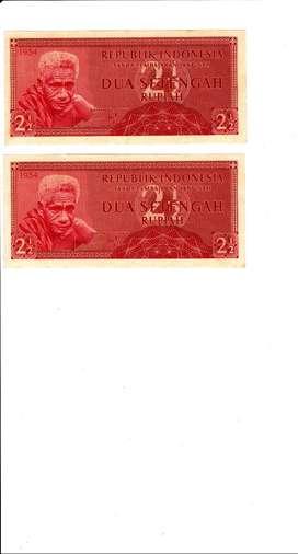 Dijual uang antik 2.5 rupiah keluaran tahun 1954