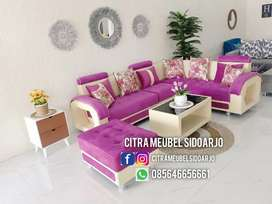 Sofa letter L cantik dan stool