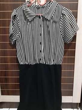 Dress cole hitam putih