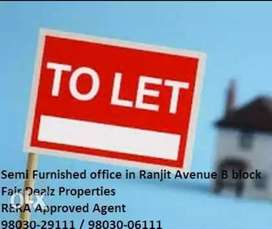 Semi furnished office with A.C fitting avalibale