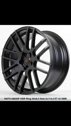JUAL PELEK HSR NATH R20 LEBAR Rata 8,5 pcd 5X114,3 SEMI MATT BLACK hci