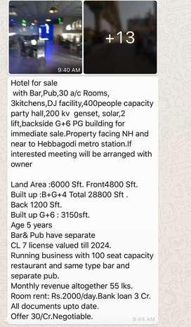 Bangloor hebbagodi near NH face bar hotel pub for sale 30cr