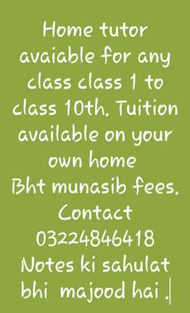 For home tuition.. munasib fees