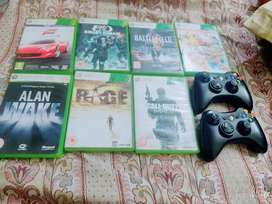 Xbox 360 7cds and 2 controller