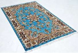 4 x 6 ft Pakistani Persian Silk Touch Light Blue Area Rug for Sale