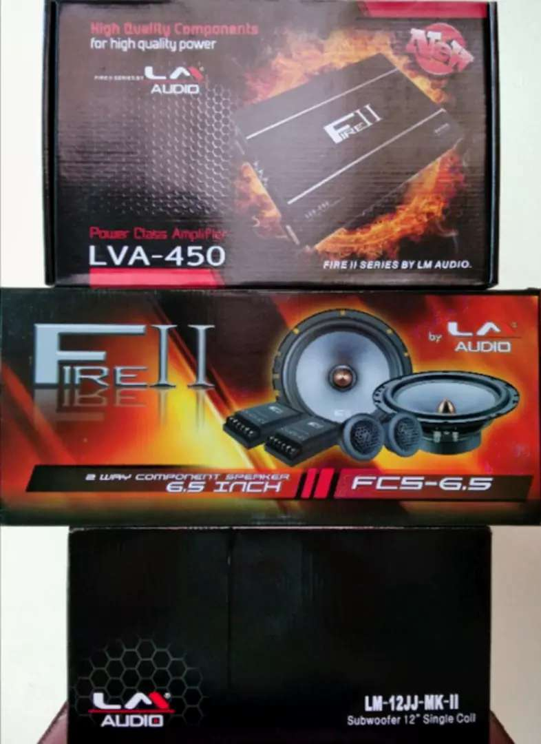 Paket audio LM AUDIO, power 4chnl, speaker split, Dan subwoofer 0