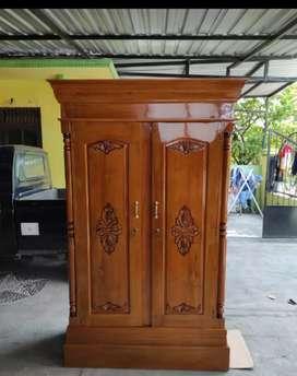 almari pintu 2 full kayu jati TPK