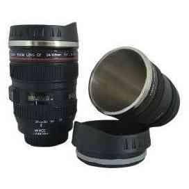 AyooDropship - Gelas Tumbler Bentuk Lensa Kamera 400ml - Black