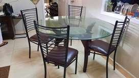Glass top 4 person dining table
