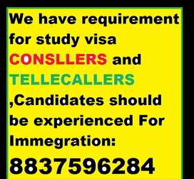We have requirement for study visa CONSLERS and TELLECALLERS ,candidat