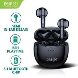 Robot Earphone Airbuds T10 Waterproof IPX4 Semi-In-Ear TWS Wireless