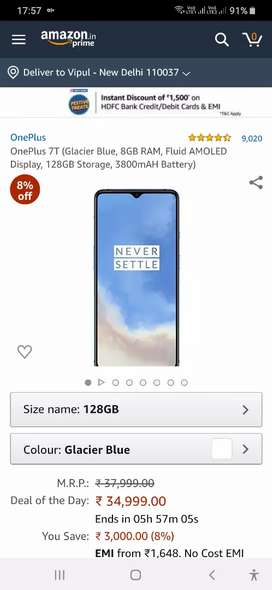 Sealed pack OnePlus 7T (8GB RAM, Fluid AMOLED Display, 128GB Storage )