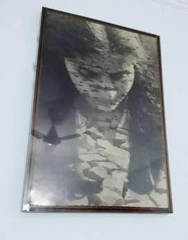ART  Monochrome - Charcoal painting portrait .