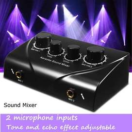 Karaoke Echo Tune Vol Mixer Dual MIC Input Sound Amplifier Microphone