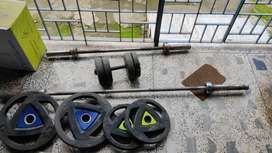Gym workout Olympic bar and plates
